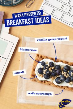 Regret your daily morning muffin habit? Save this delicious crispbread recipe! Wasa Sourdough, vanilla Greek yogurt, fresh blueberries and crushed muesli offer a wholesome breakfast combination.