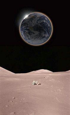 Fotografía falsa de un eclipse solar en la Luna.