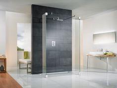Modern Minimalist Gray Bathroom Design Featuring Open Space Shower  Enclosure And Wall Mounu2026 | Condo   Bathroom | Pinteu2026