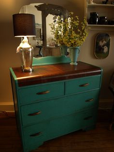 This waterfall dresser was painted with Florence Chalk Paint® and the top was stained a dark walnut. Artisan Enhancements Easy Crackle was used to achieve the crackle finish. Done by Studio 184 in Stoughton, WI.