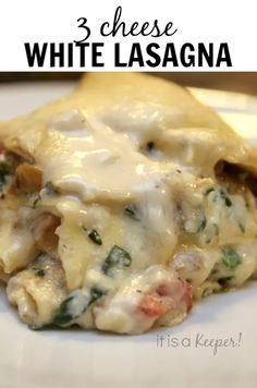 This 3 Cheese White Lasagna is the ultimate comfort food recipe. Plus, it's a great make ahead meal. Nothing says comfort food like lasagna. All those layers of pasta and cheese just melding together into Vegetable Lasagna Recipes, Vegetarian Lasagna Recipe, Best Lasagna Recipe, Lasagna Recipe With Ricotta, Easy White Lasagna Recipe, White Sauce Lasagna, Lasagna With Sausage, Vegetable Lasagna Recipe White Sauce, White Vegetable Lasagna Recipe