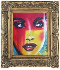 RETRO-LADY-ANTIQUE-GOLD-SWEPT-FRAME-OIL-PAINTING-24-20