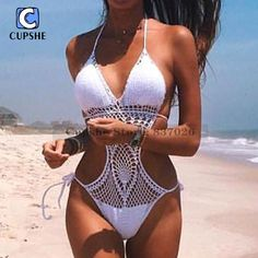 Cupshe 2016 Новый Стиль женщин Сексуальный Крючком Пляж бикини Монокини Цельный Купальник Женщин