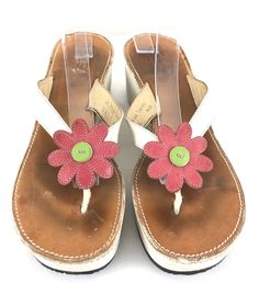 e7cf4a8bb4d69f Coach Thong Sandals Wedge Heels 8.5B Leather Tacey Flower Applique Made In  Italy  coach