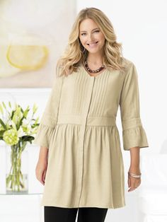 Skirted Baby Doll Tunic -View All Tops -Tops - Ulla Popken - Beautiful Plus Size Womens Clothing