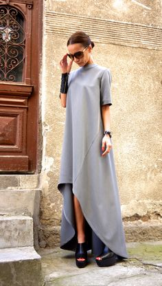 New Collection Maxi Dress / Grey Asymmetrical Kaftan / от Aakasha