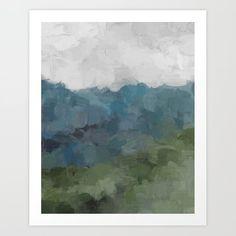 Gray Blue Navy Indigo Sage Leafy Green Sky Forest Abstract Painting, Modern Wall Art, Portrait Art Print by Rachel Elise - X-Sma Artwork Prints, Fine Art Prints, Green Sky, Affordable Art, Watercolor Background, Modern Wall Art, Buy Frames, Portrait Art, Unique Art