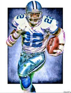 Emmitt Smith, Dallas Cowboys by Jeff Lang