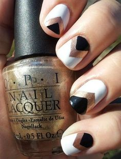 Black, white and metallic gold nail art - perfect for a spring manicure!
