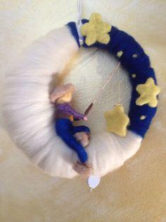 Carillon pescatore di stelle in lana fiaba seta di CreazioniMonica