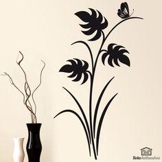 Vinilo floral hojas y mariposa, color negro y orientación vertical