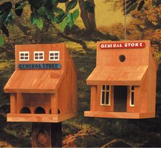 Wooden Bird Feeder Plans | This set is #BH5-Old West and #BH9-Log Cabin birdhouses and ...