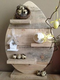 Pallet wood recycled into Easter Centerpiece.