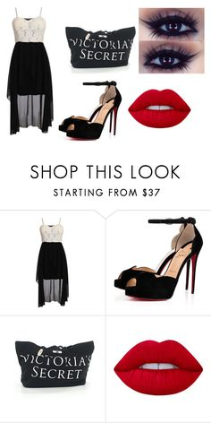 """""""First day at new school"""" by addie2000 on Polyvore featuring moda, Pilot, Christian Louboutin, Victoria's Secret, Lime Crime, blackandwhite, girly i newchic"""