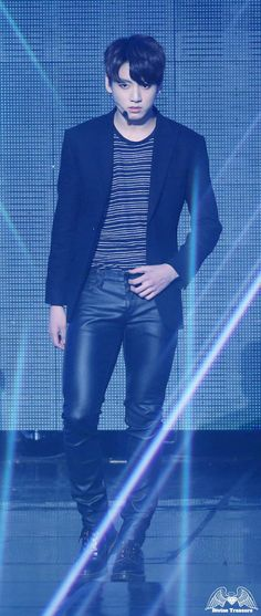 JungKook - he's so hot in these leather pants cause he has great long legs