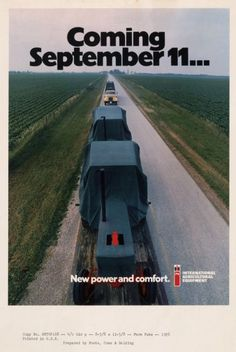 International Harvester Tractor Advertising Proof.25 years before 9/11/01 Case Ih Tractors, Farmall Tractors, International Tractors, International Harvester, Truck Memes, Red Tractor, Classic Tractor, Hot Rides, Vintage Ads