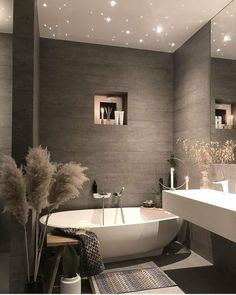 Grey Bathrooms, Beautiful Bathrooms, Modern Bathroom, Bathroom Photos, Modern Wall, Colorful Bathroom, Bedroom Modern, Gray And White Bathroom Ideas, Parisian Bathroom