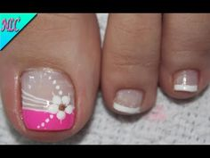 Pretty Toe Nails, Cute Toe Nails, French Nail Art, French Nail Designs, Nail Art Designs Videos, Toe Nail Designs, Pedicure Nail Art, Toe Nail Art, Flower Toe Nails