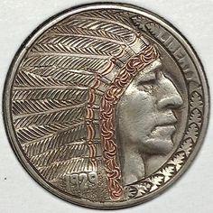 GEDIMINAS PALSIS HOBO NICKEL - COPPER HEADDRESS BAND CHIEF - 1929 BUFFALO PROFILE Hobo Nickel, Dollar Coin, Coins, Copper, Band, Headdress, Buffalo, Profile, Usa