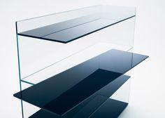 Nendo shifts shelves and surfaces for Slide glass furniture Glass Furniture, Table Furniture, Cool Furniture, Modern Furniture, Furniture Design, Glass Shelves Ikea, Glass Bookcase, Table Shelves, Nendo Design