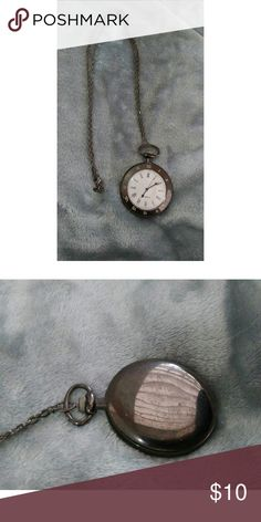 """Vintage pocket watch necklace pendant Vintage pocket watch in a dark chrome shade. The batteries dont work but that can be added. The chain is 15"""" long. Jewelry Necklaces"""