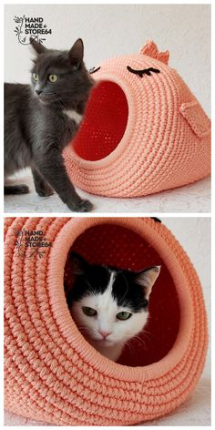 Diy Crochet Cat Bed, Crochet Crafts, Crochet Projects, Crochet Bedspread Pattern, Crochet Cat Pattern, Crochet Patterns, Crochet Boots, Crochet Fall, Cat Friendly Plants