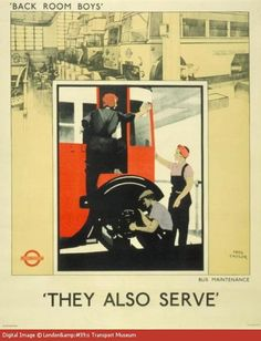 During WWII, unnecessary travel was discouraged and the production of London Transport publicity posters ceased. The new role of pictorial posters was to provide information and boost morale among both passengers and staff. Many of the workers were women, lending a certain irony to the title, 'Back Room Boys'. In the central picture two women assist a male colleague working on a trolley bus. WWII propaganda poster (Great Britain, UK), 1942. Artist: Fred Taylor.