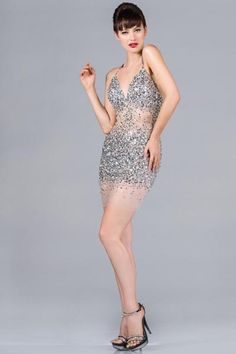PRIMA C1345 Silver Beaded and Sheer Cocktail Dress