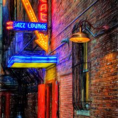 Fort Worth Impressions Scat Lounge - by Joan Carroll  via @joancarroll #jazz #nightphotography #neonsigns