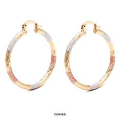 Peermont 18-Karat Gold-Plated 30mm Tricolor Hoops - Assorted Styles