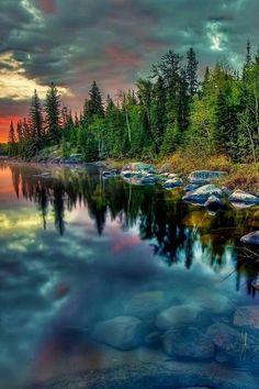 Lake wood sky reflection