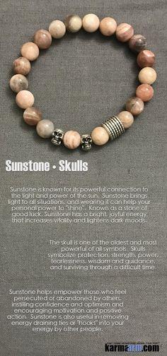 EMPOWER: Sunstone | Skulls Yoga Mala Bracelet. Karma Arm: Charm | Friendship & Love | Happiness & Good Fortune | Fertility | Chakra Energy & Organic Healing | Men Women | BoHo Bracelet Stacks. Free Shipping.