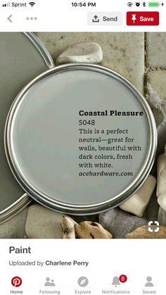Coastal Pleasure Ace Hardware Love this color. Interior Paint Colors, Paint Colors For Home, Paint Colours, Interior Design, Interior Plants, Cabin Paint Colors, Coastal Paint Colors, Interior Ideas, Painting Tips