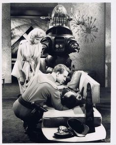 """Anne Francis, Leslie Nielsen, Robby the Robot, and Warren Stevens - """"Forbidden Planet"""" Sf Movies, Fiction Movies, Fantasy Movies, Sci Fi Fantasy, Science Fiction, Classic Sci Fi Movies, Robby The Robot, Anne Francis, Vintage Robots"""