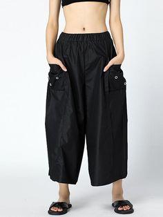 Black Loose High-low Hollow A-line Dress – moongor Harem Pants Fashion, Color Khaki, Batwing Sleeve, One Piece Swimwear, Cotton Style, Hijab Fashion, Casual Pants, Cool Girl, Tankini