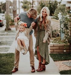 Family photo cute love mom dad child kid happy jump carry walk dress green boho daughter dream