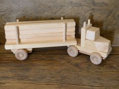 Handmade Wooden Toy Lumber Truck Wood Toys Kids Boys Childs