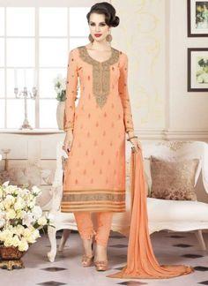 Beautiful Orange Georgette Embroidery Booti Work Churidar  Suit http://www.angelnx.com/Salwar-Kameez/Churidar-Suits