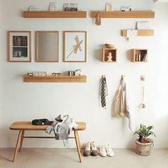Update your decor or add some storage space with our wall furniture. Choose among our various shelves boxes and hooks to fit your needs. Available in oak or walnut in select stores. Room Interior, Home Interior Design, Interior Architecture, Interior Decorating, Style Muji, Maison Muji, Muji Haus, Interior Minimalista, Minimalist Room