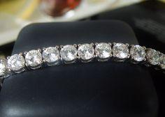 """New Bold Sterling Silver 30tcw Cubic Zirconia CZ Tennis Line Bracelet FITS 8"""" #KayJewelers #Tennis"""