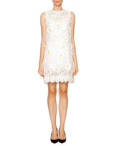 f503778bb11 W085J Dolce & Gabbana Daisy-Embroidered Lace Shift Dress, White Bergdorf  Goodman,