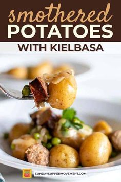 Ready for one of the easiest dinner ideas ever? Our Smothered Potatoes and Sausage recipe is a guaranteed hit! The smoky sausage, sweet onions, and hearty potatoes all mix together in one perfect combination in this easy smoked sausage and potatoes recipe. #SundaySupper #smokedsausage #kielbasa #sausageandpotatoes #smotheredpotatoes #easyrecipes #dinners #sidedishrecipes #maindish via @thesundaysupper Smoked Sausage And Potato Recipe, Smoke Sausage And Potatoes, Sausage Recipes, Cooking Recipes, Smothered Potatoes, Twice Baked Potatoes, Supper Recipes, Side Dish Recipes, One Pot Meals
