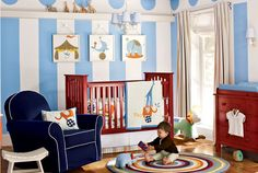 The sky blue and red circus nursery theme is classic yet fun. Perfect for a little boy!  *Please join us (Albee Baby) on Facebook: http://on.fb.me/1qElS1J  Instagram: http://instagram.com/albeebabydotcom and Twitter: https://twitter.com/AlbeeBaby (no-spam zones!)