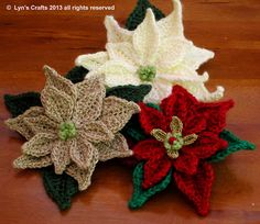 Evanescence : Christmas Crochets ~ Poinsettias Link to printable pattern ($) on website.
