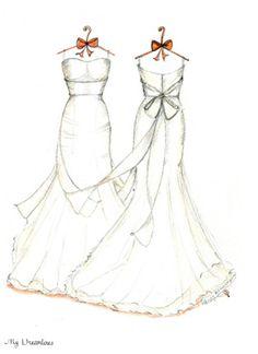 Dreamlines Wedding Dress Sketch Front and Back 6