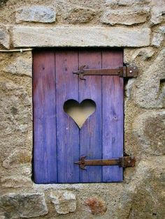 Worn wood window shutter with cutout heart and rusted iron hinges. Envision red building with purple shutters. Cutout heart would show red color. I Love Heart, Happy Heart, Fairy Doors, All Things Purple, Heart Art, Windows And Doors, Exterior Windows, Wooden Windows, Belle Photo