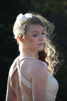 Gold Birdcage Veil with Floral AccentEstelle by AnnaReneeAtelier, $50.00
