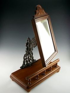 Victorian Vanity Mirror in Hand Carved Mahogany by VintagebyViola, $245.00 rich wood and metalwork is beautiful