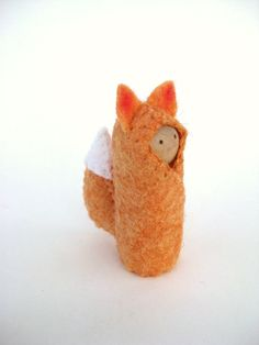 Little Fox Woodland Sprite - Hand Embroidered Wool and Wood - Waldorf Inspired