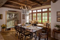 LOVE the feel of this dining room! So comfy and inviting! mediterranean dining room by Higgins Architects